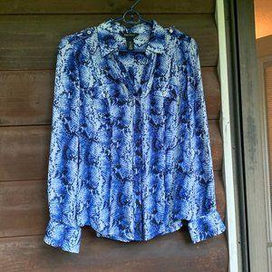 WHBM Blue 100% silk snakeskin print blouse